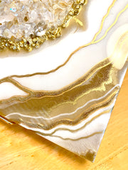 Gold & White Crystal Quartz Geode Resin Art 12x12