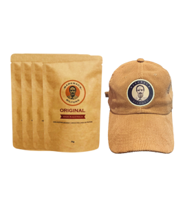 75g Original Biltong (4 Bags) with Corduroy Brown Hat Bundle