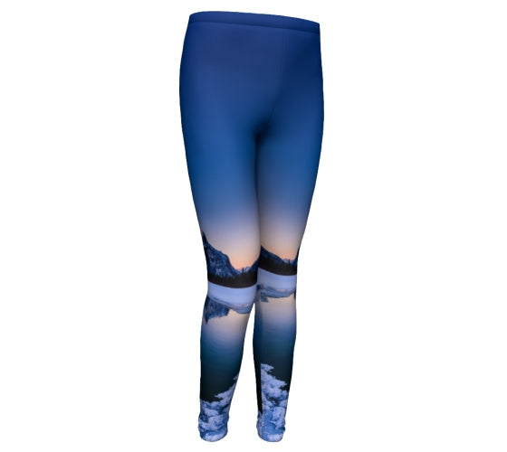 Frosty Rundle Reflections kids leggings by Mountain Moves - front