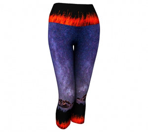 Cascading Stars capri leggings by Mountain Moves - front