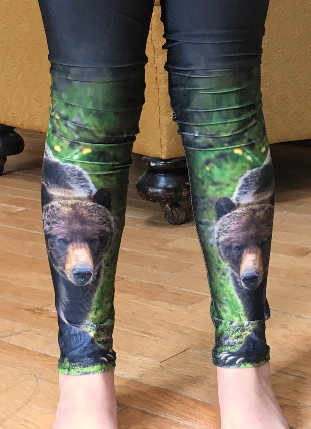 Bear Necessities kids leggings by Mountain Moves - close up
