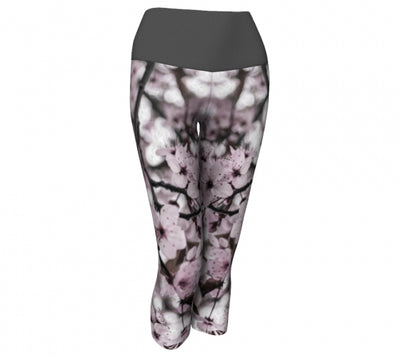 Serene Sakura capri leggings by Mountain Moves / Artwork by Carrie Servos