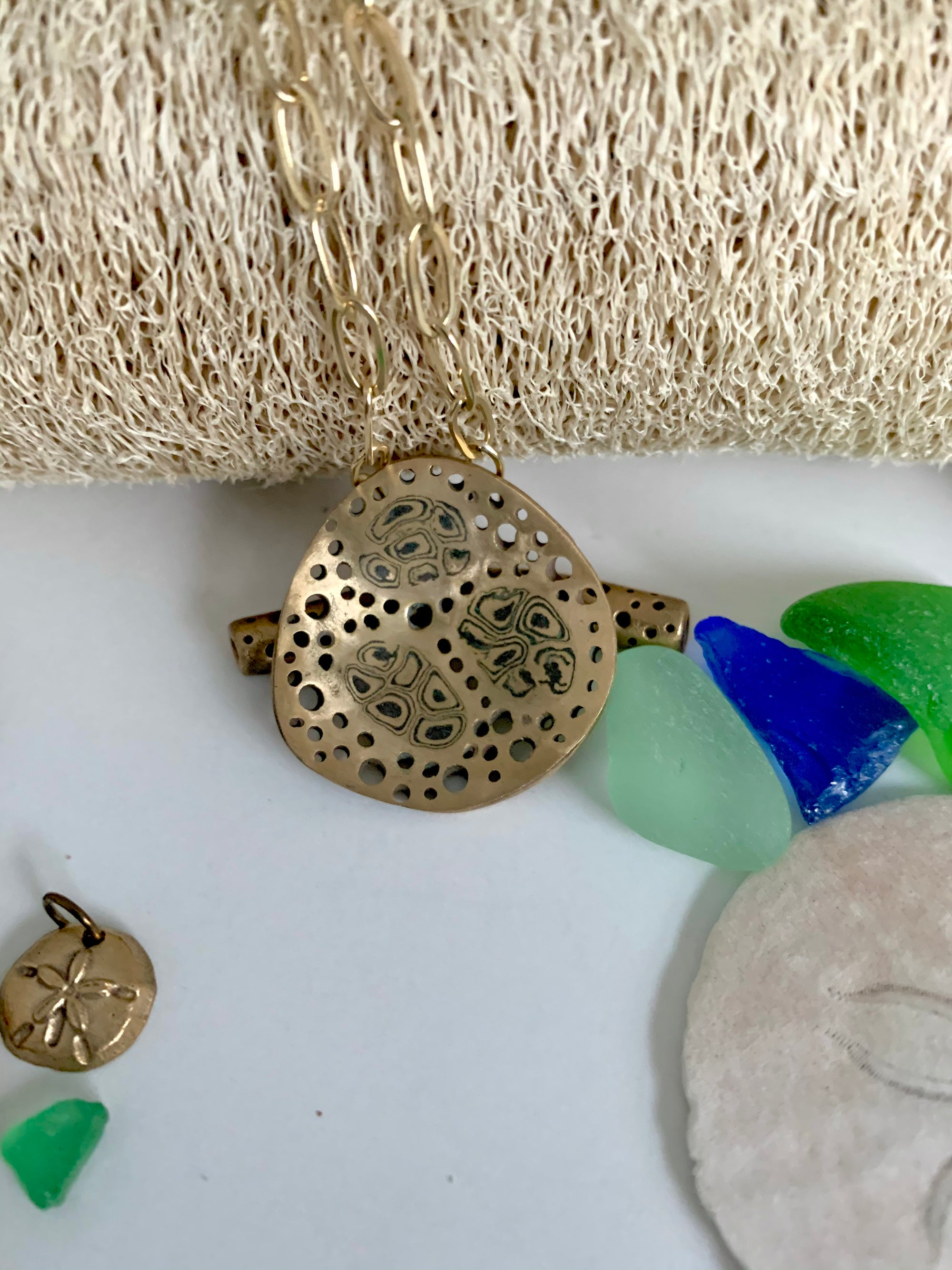 One of a kind art jewelry necklace inspired by loofah sponge