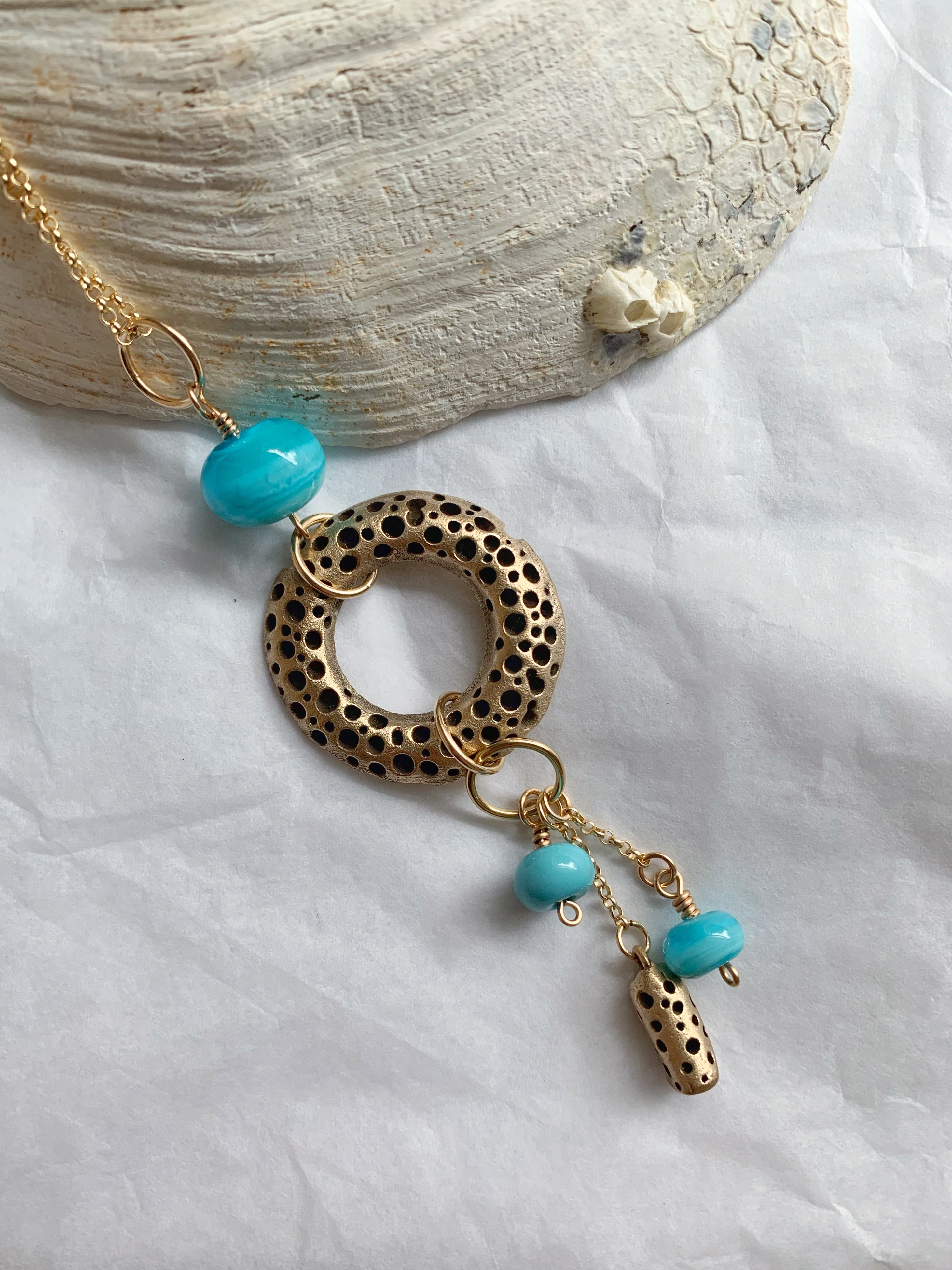 Ocean inspired bronze and glass statement necklace