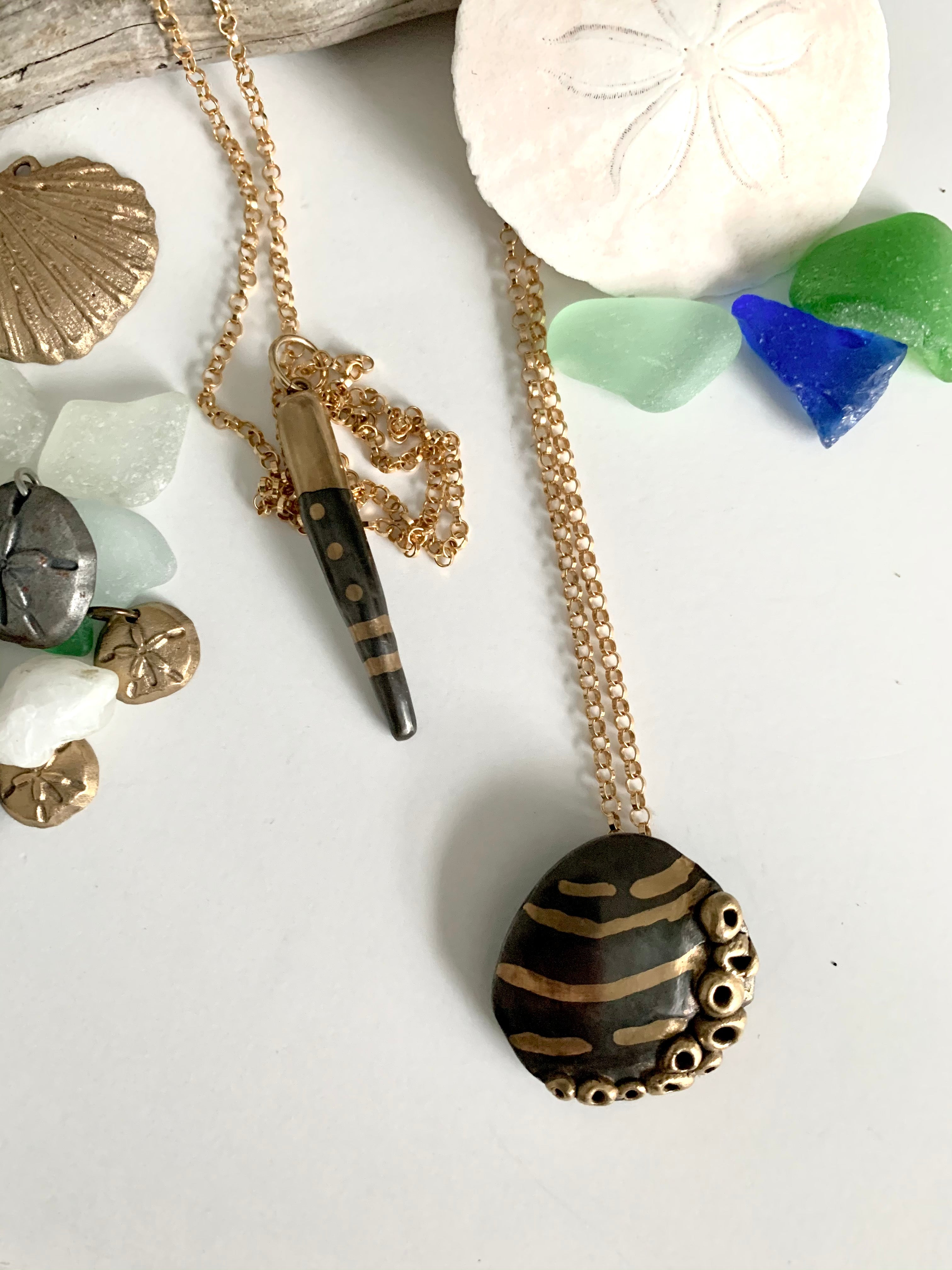 Seashell necklace hand made from steel and bronze