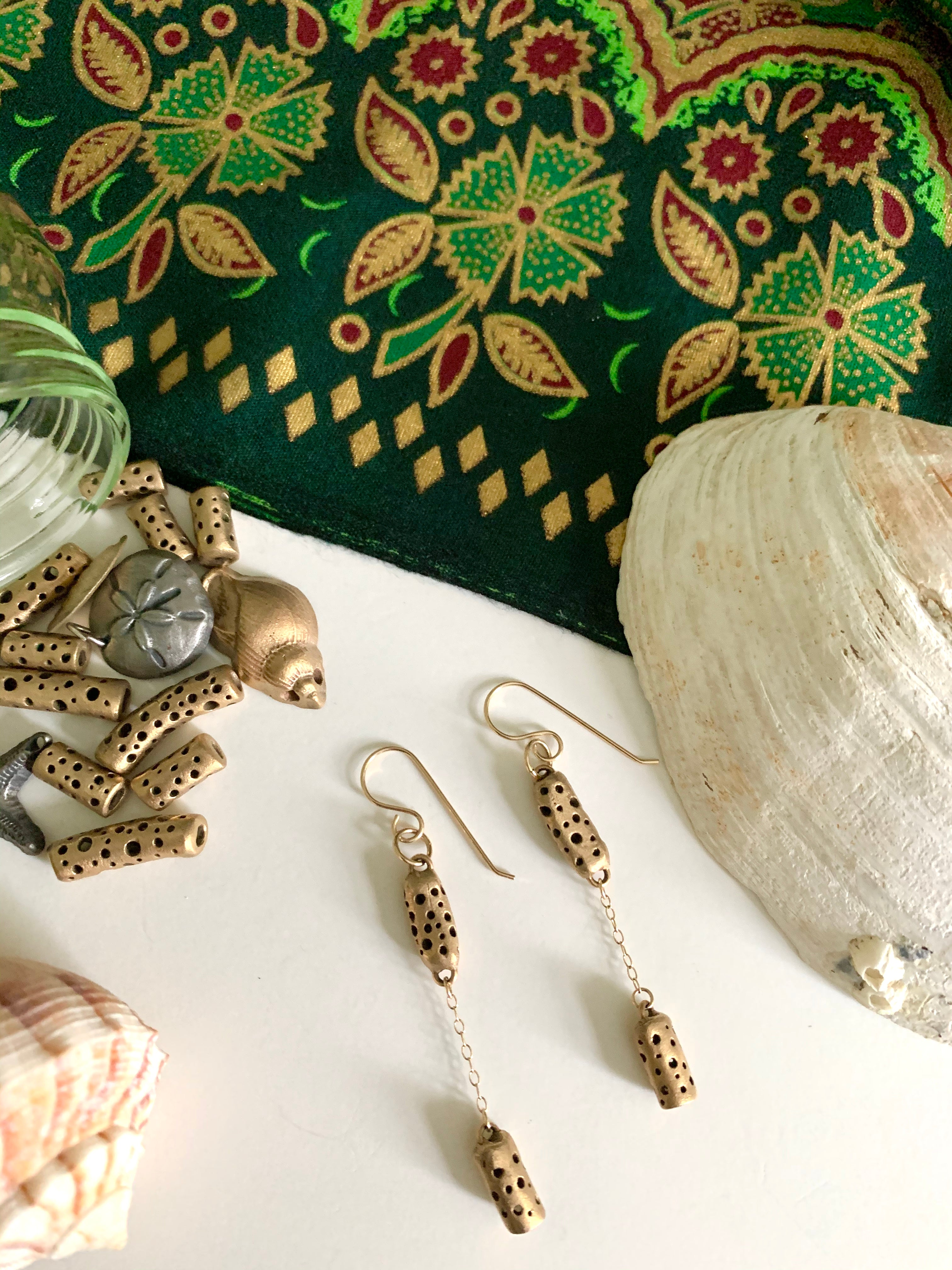 Tropical Bali batik seashells and bronze carved bead earrings