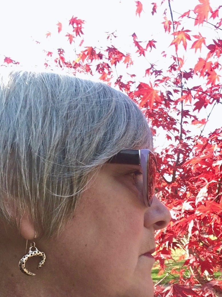 Red maple leaves and bronze handmade earrings