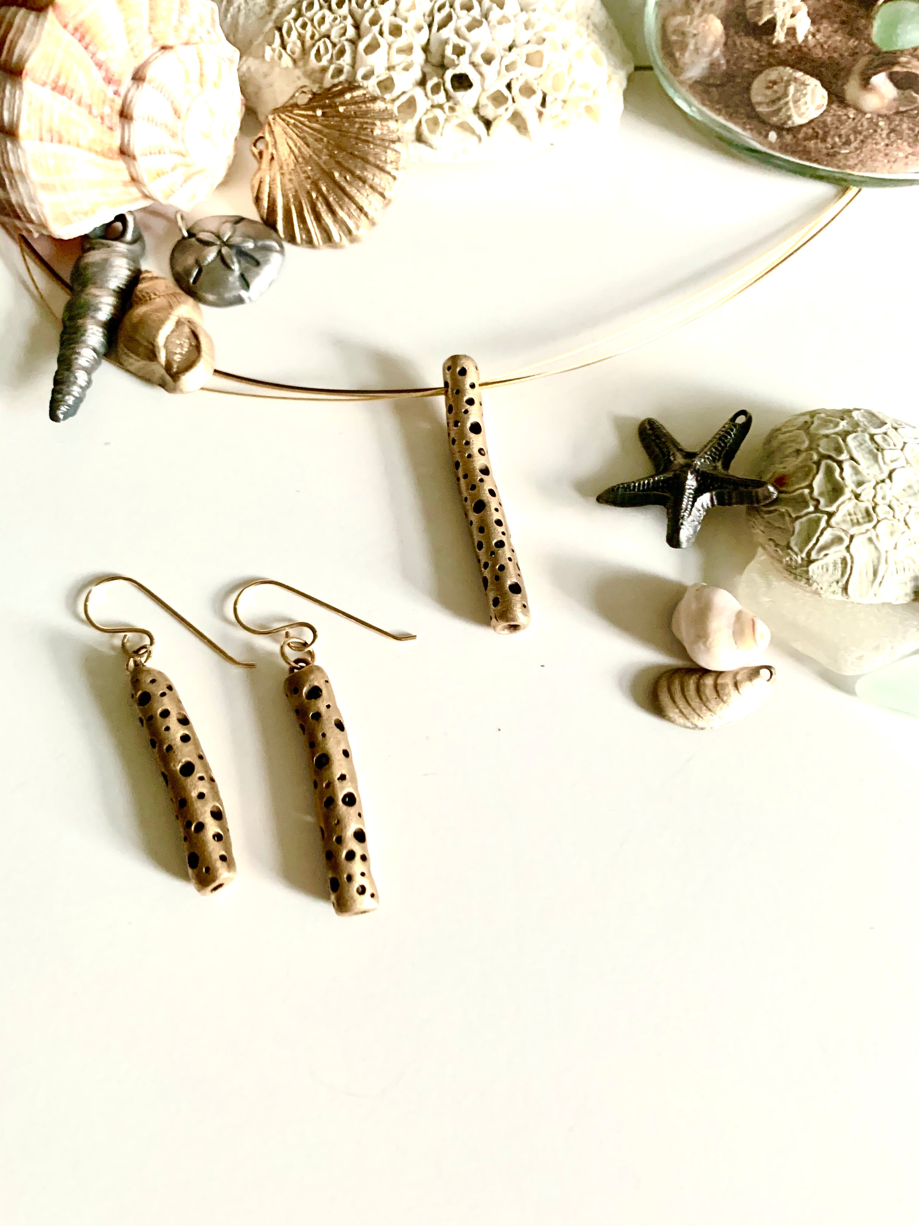 Sculptural bronze artisan made jewelry