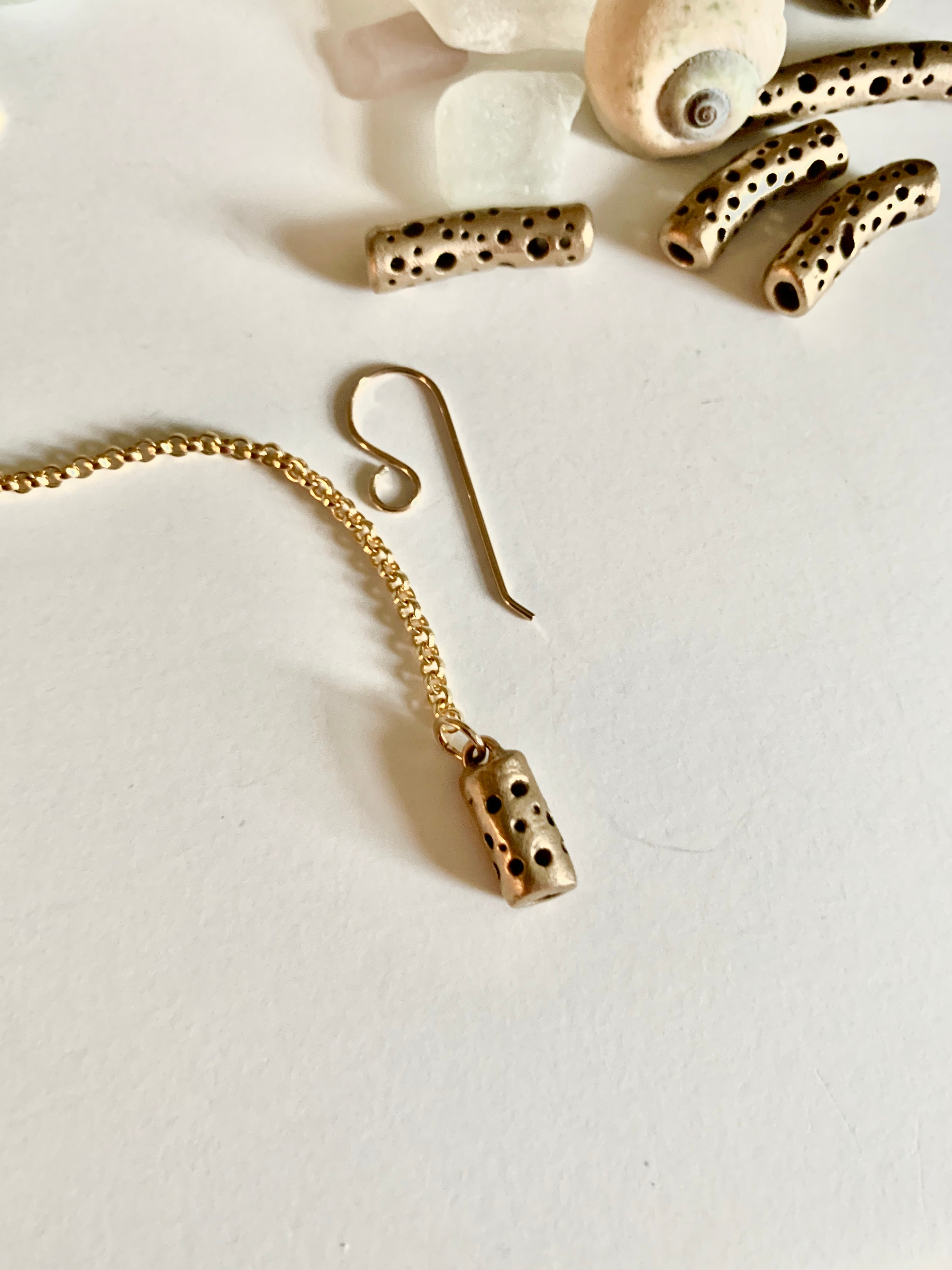 Gold and bronze artisan earrings