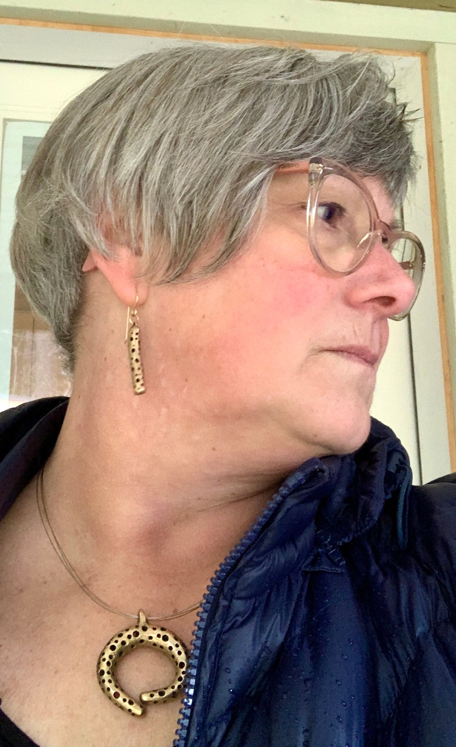 Bronze artisan made earrings and necklace