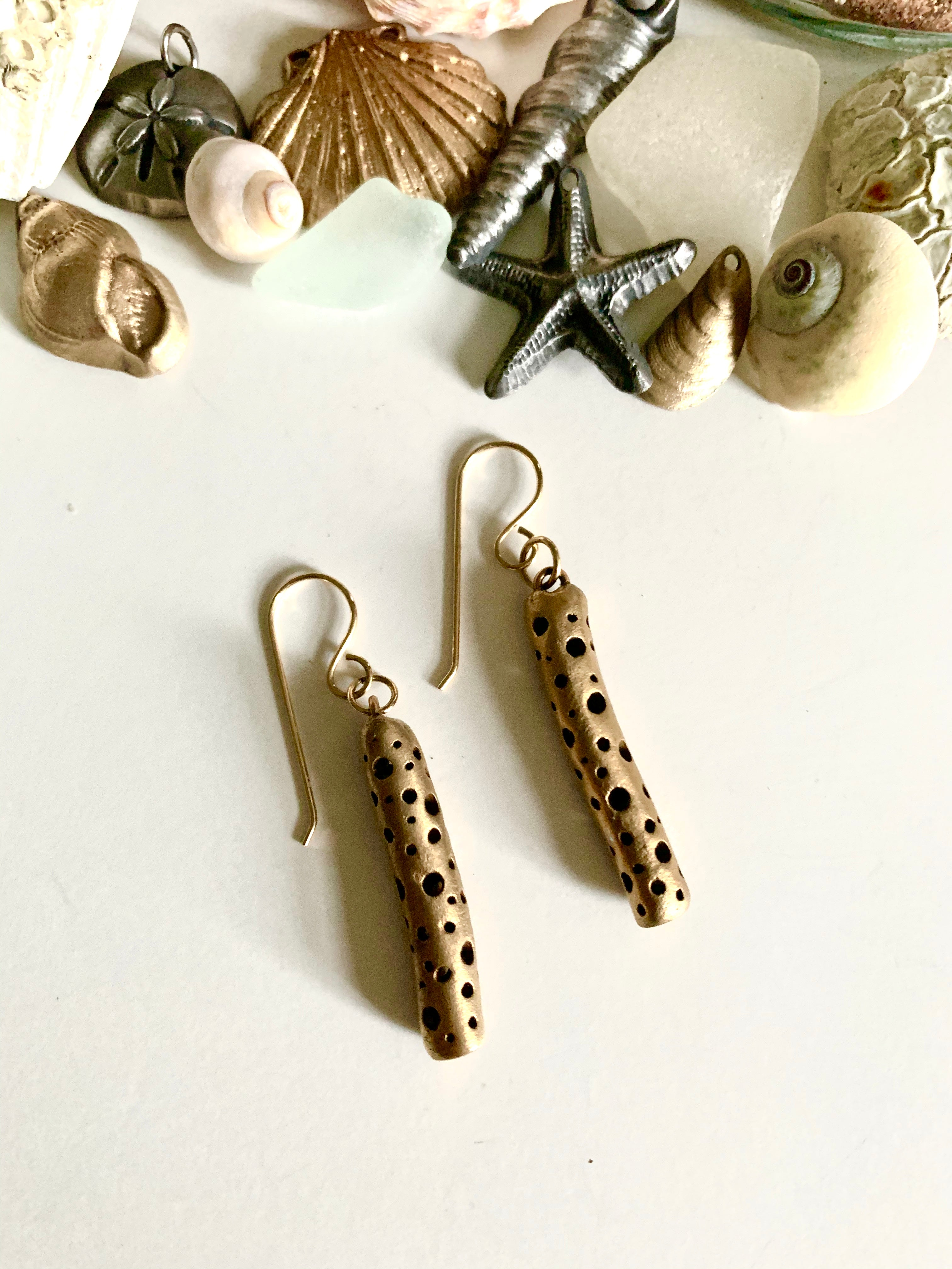 Bronze hand made everyday earrings with seashells