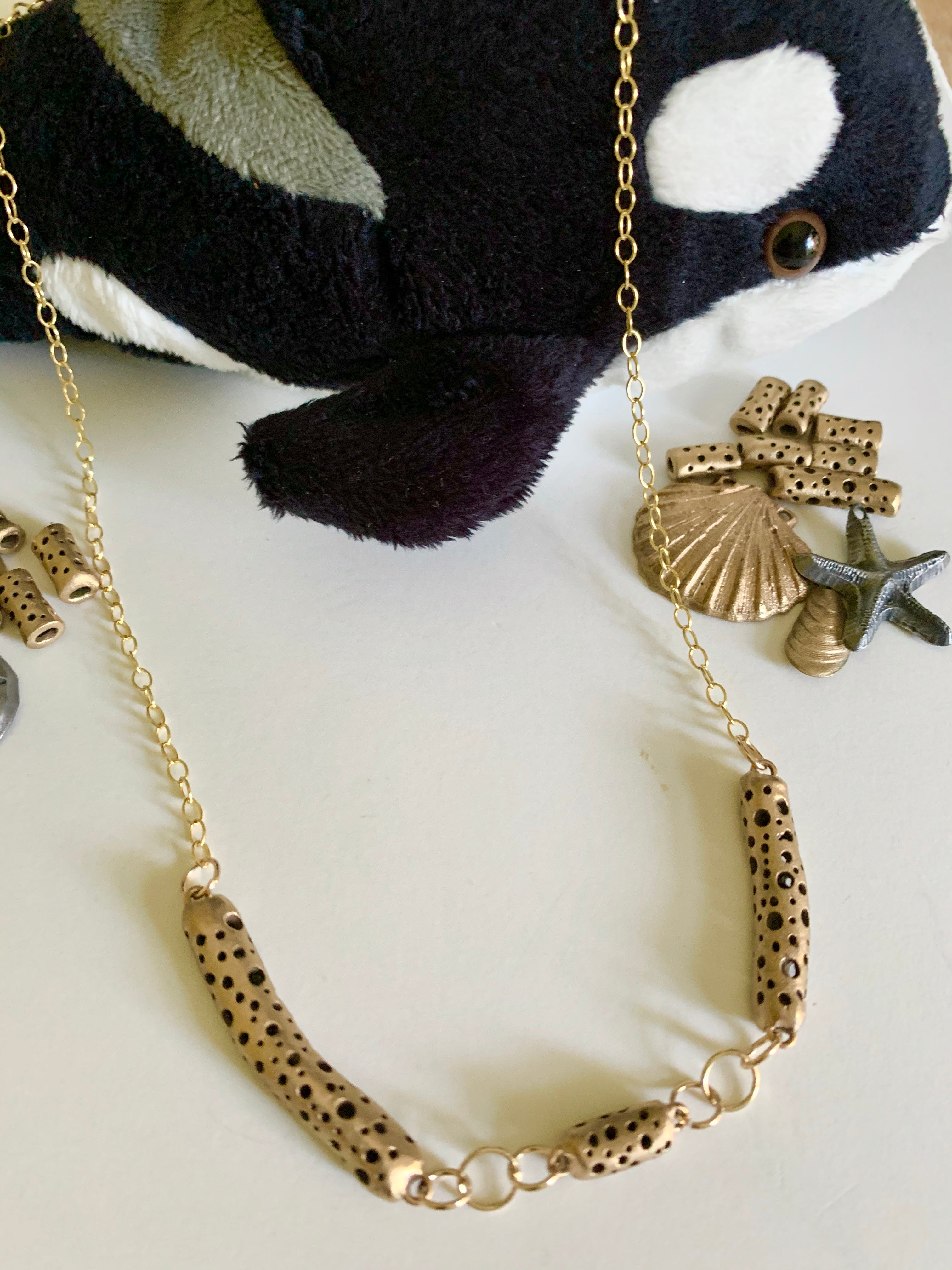 Orca and bronze bead organic yet classic necklace
