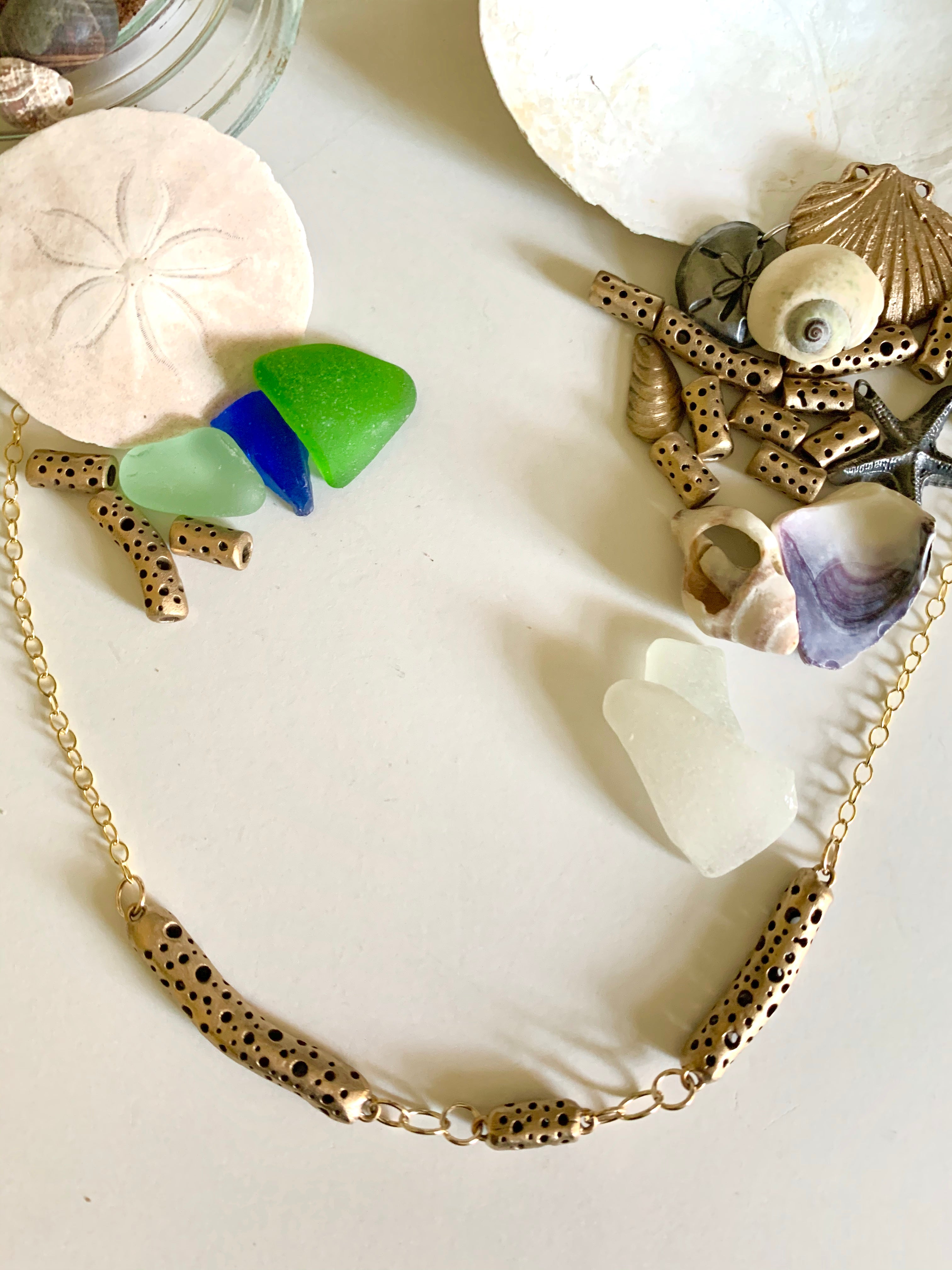 Seaglass and sculptural bronze bead classic necklace