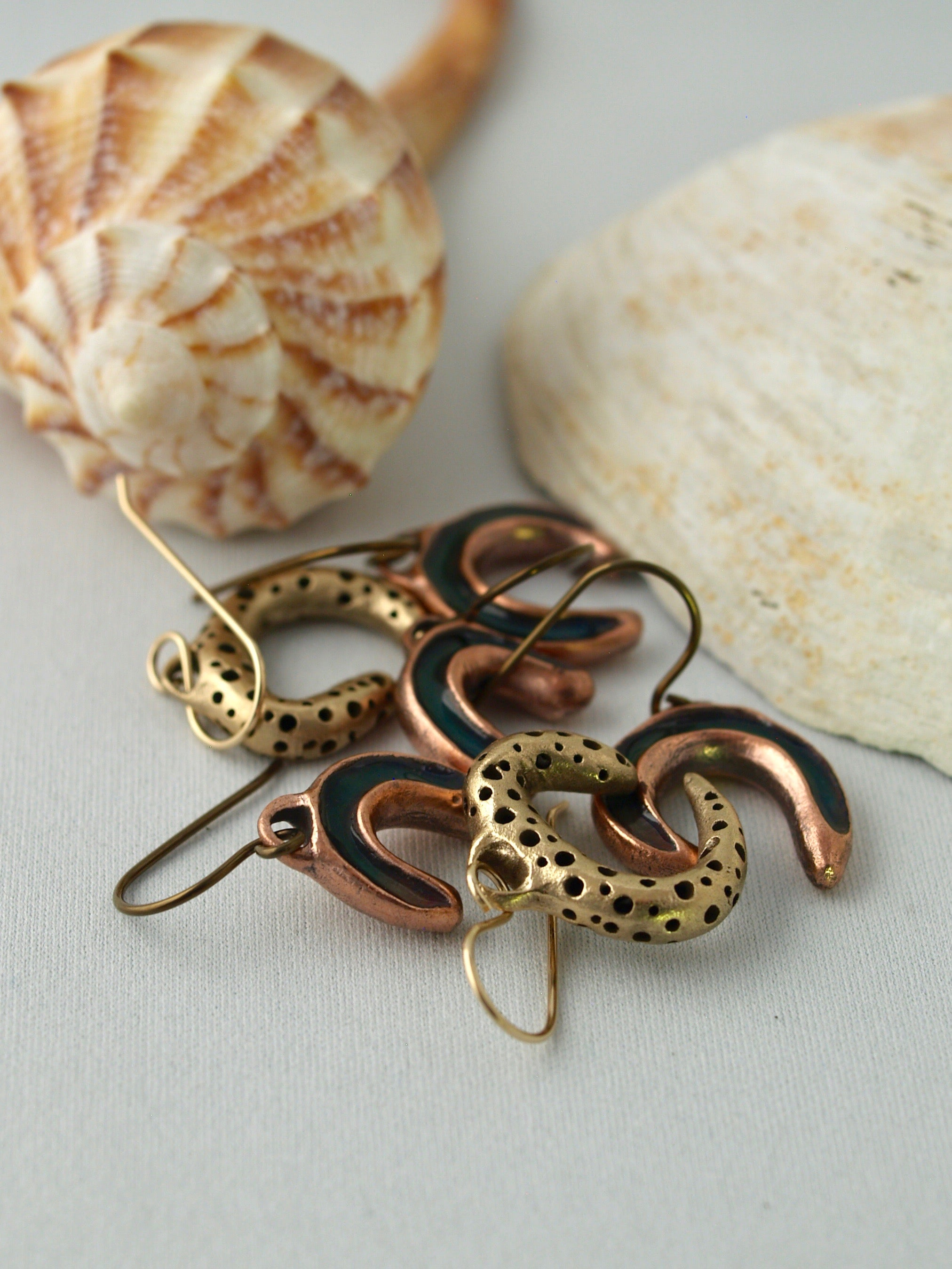 Artisan copper and bronze earrings