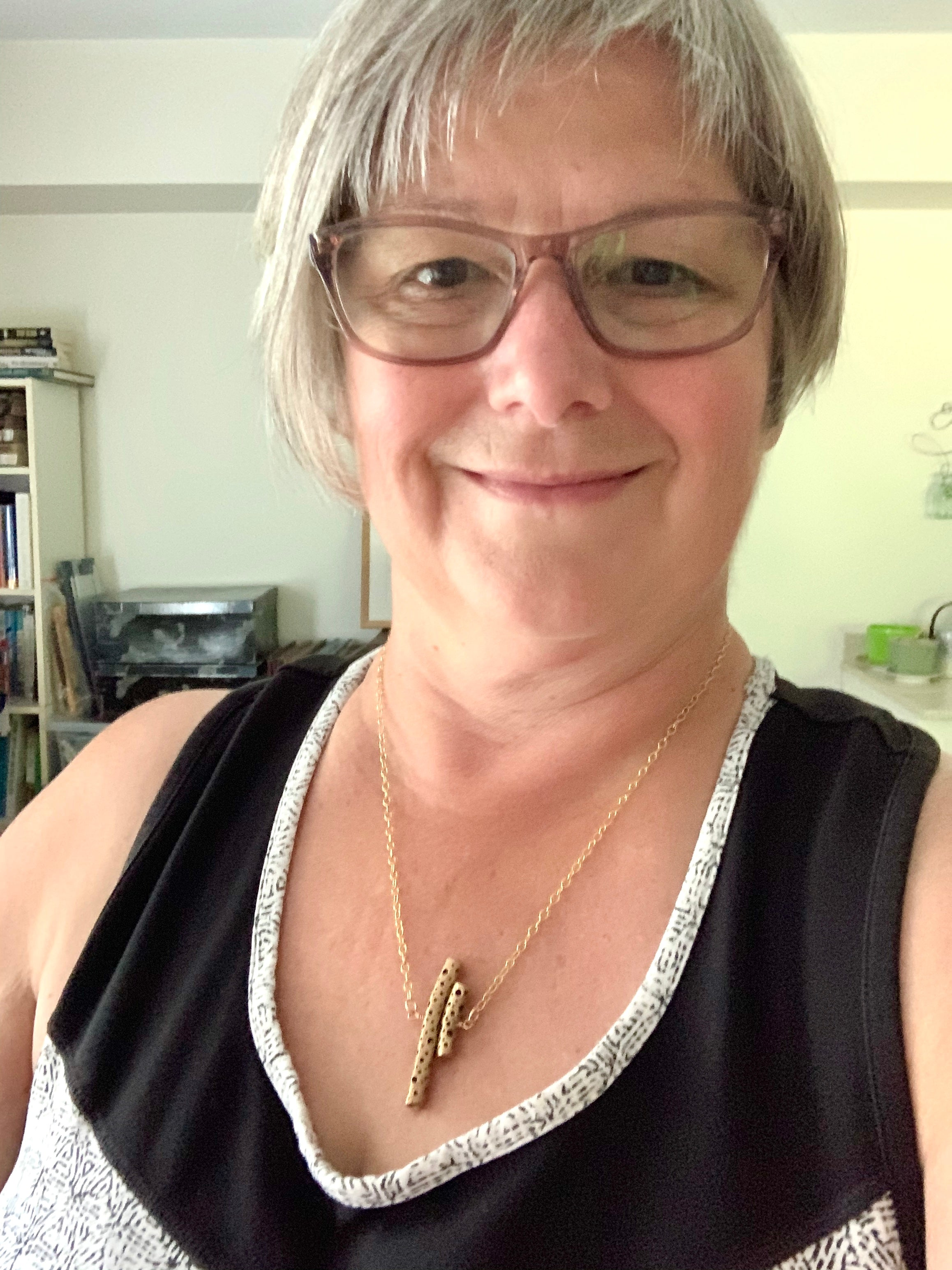 Wearing bronze artisan necklace for everyday casual