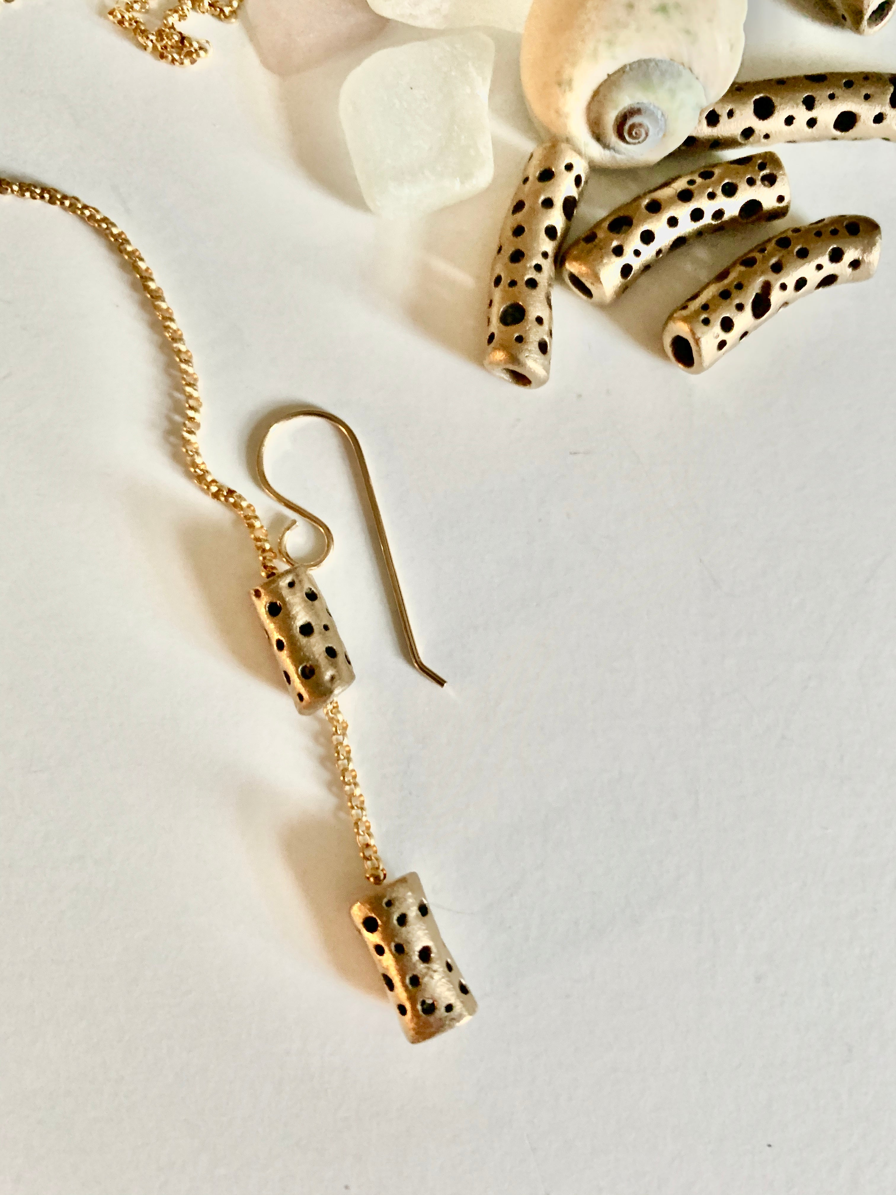 Bronze bead with gold chain hand crafted earrings
