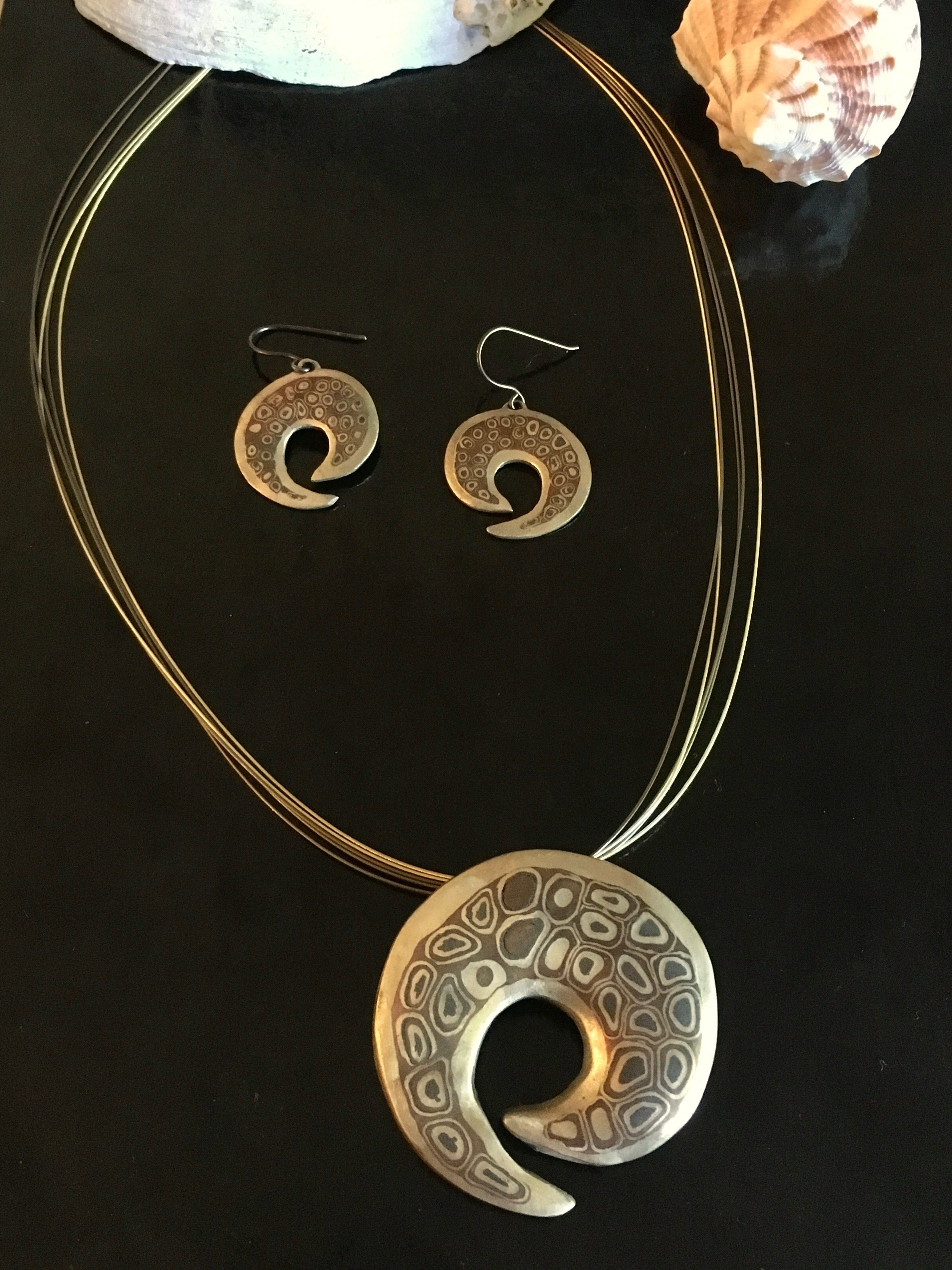 Bronze artisan handmade mixed metal jewelry