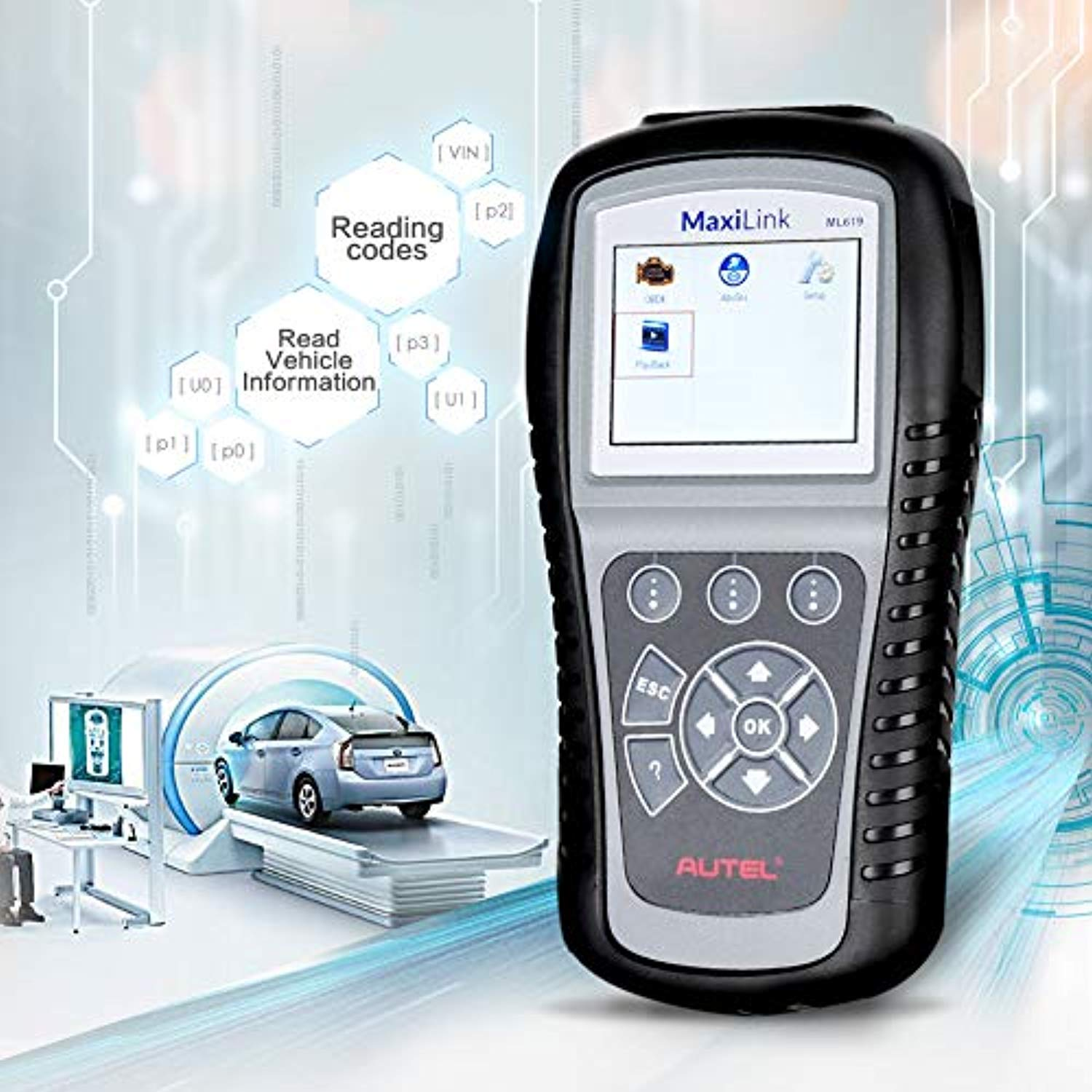 Autel MaxiLink ML619 CAN OBD2 Scanner Code Reader +ABS/SRS