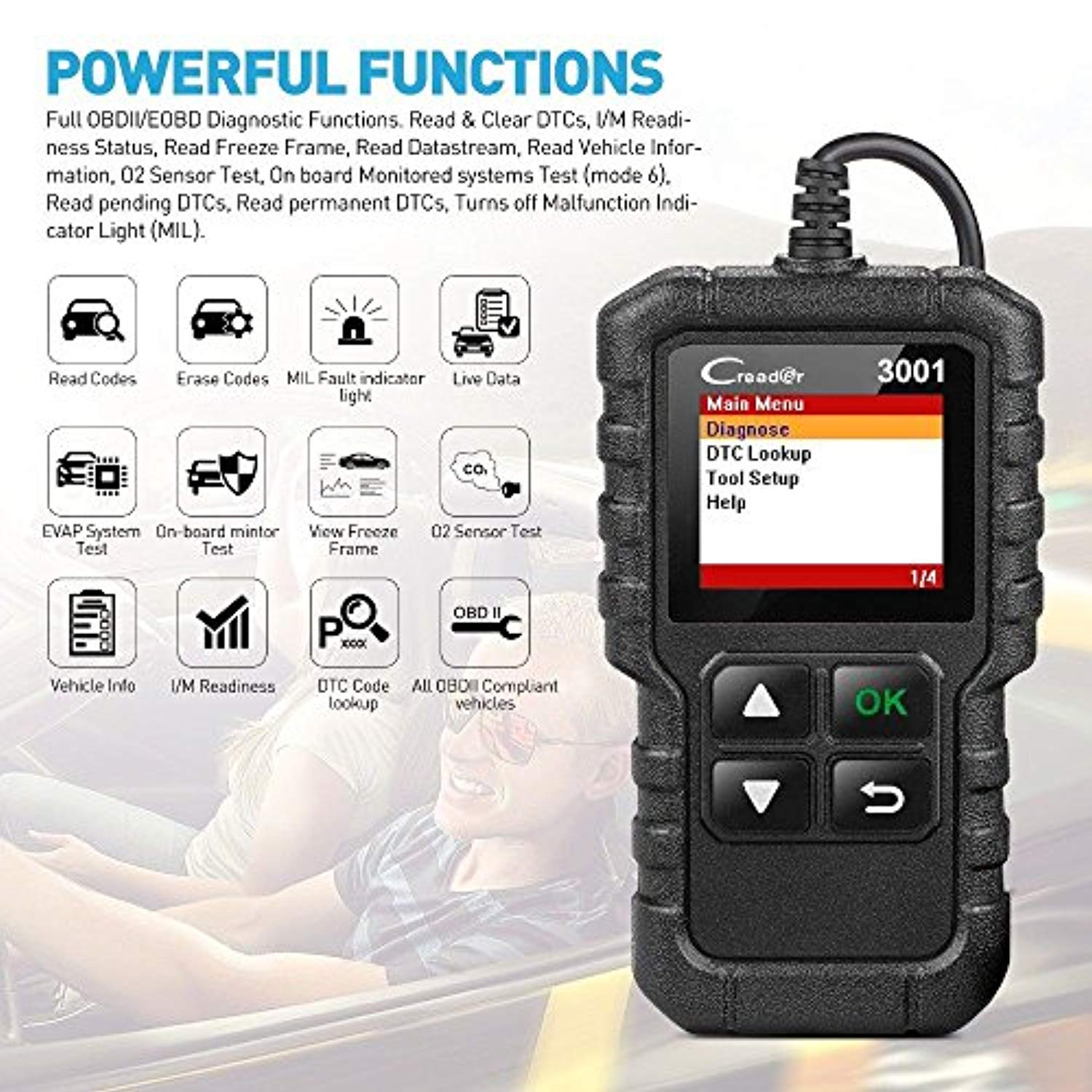 LAUNCH Creader 3001 OBD2 Scanner Automotive Car Diagnostic