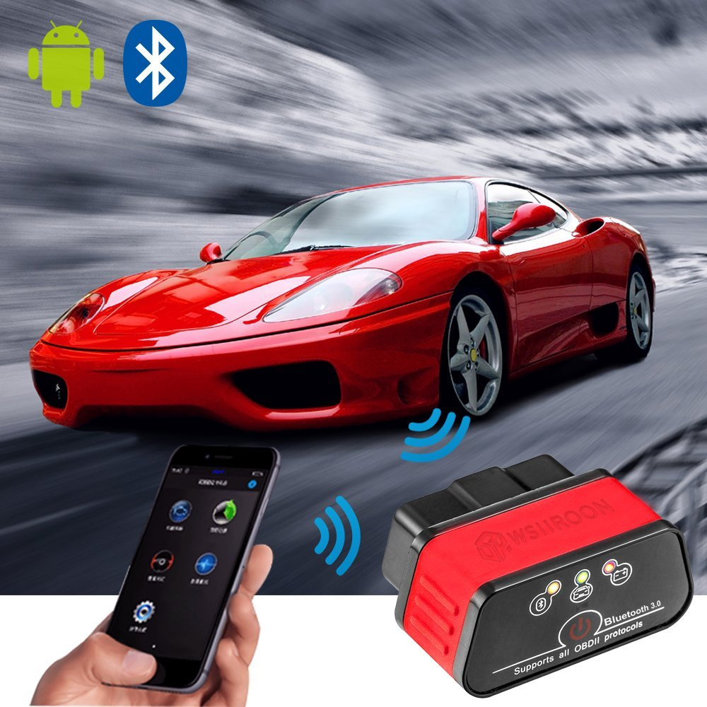 Wsiiroon Bluetooth 3 0 OBD2 Scanner, Android and Windows Dedicated OBD II  Car Diagnostic Scan Tool with Switch Auto Sleep and Free Professional APP