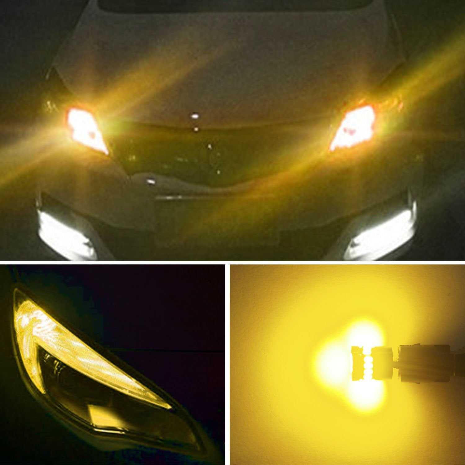 AUXITO 194 LED Light Bulb,Super Bright Amber Yellow 168 2825 W5W T10 Wedge 24-SMD 3014 Chipsets LED Replacement Bulbs for Car Dome Map License Plate Lights Pack of 10