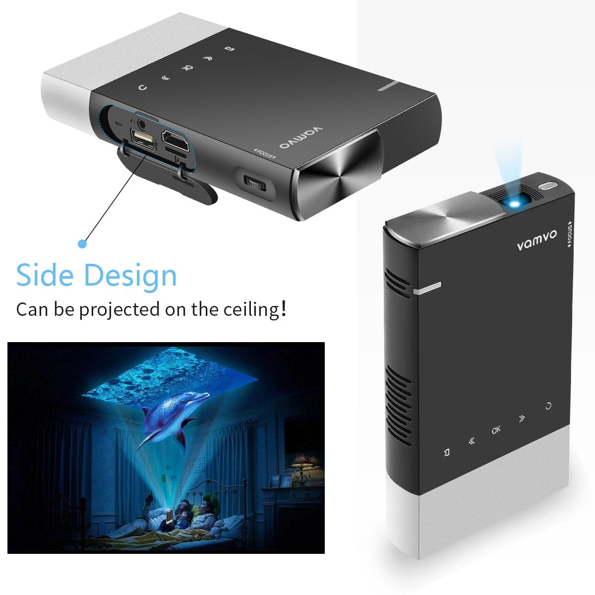 Vamvo Ultra Mini Portable Projector Rechargeable Pico Projector