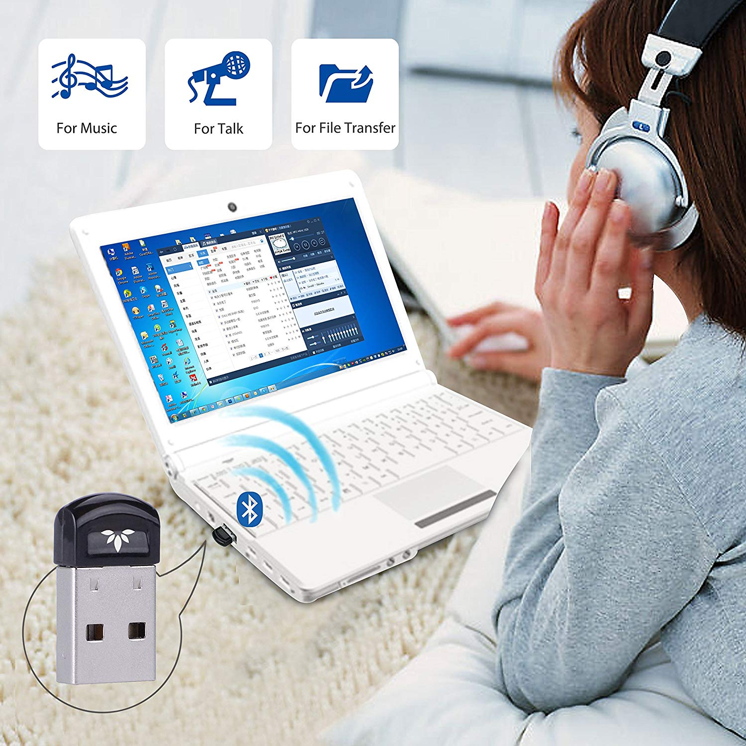 USB Bluetooth 4.0 Adapter Dongle for PC Laptop Computer Desktop ...