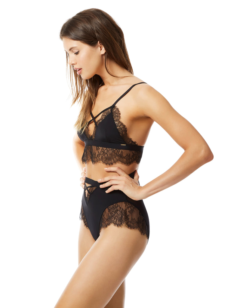 Nyane Black lace soft cup bra by Bluebella