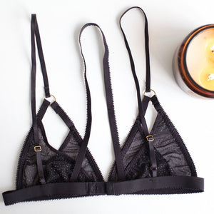 Arc Bralette Black and Silver Sparkles | EastnWest Label Lingerie Australia
