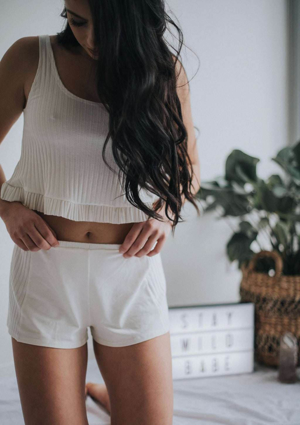 Sleep Some Pyjama Shorts in Cream by Only Hearts | Finding Rosie Sleepwear
