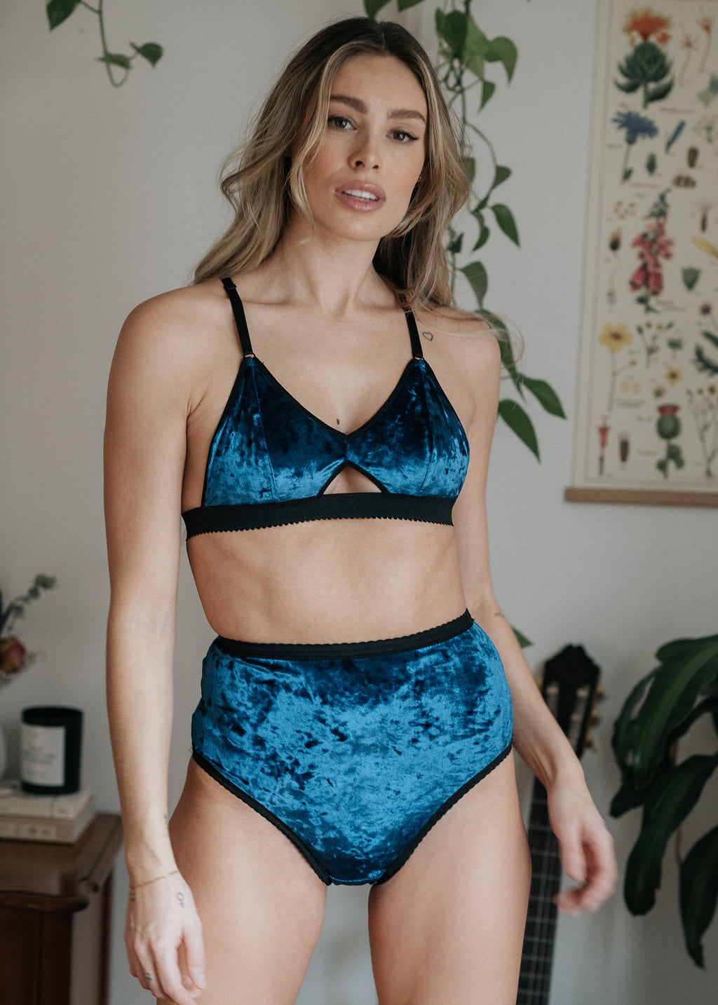 Aquarius High-Waist Undies in Navy Blue Velvet | Finding Rosie