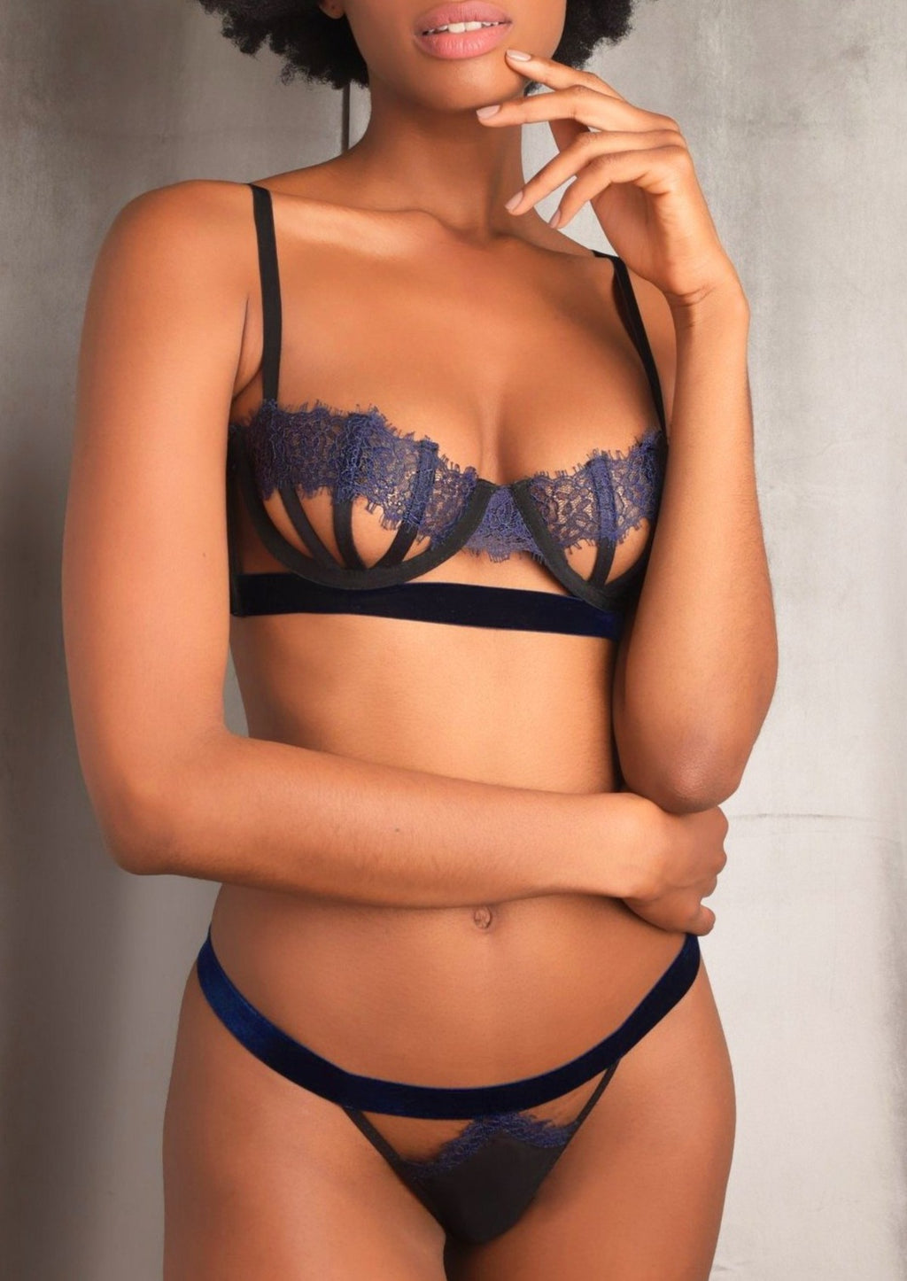 Sidney navy and black underwire bra by Thistle & Spire