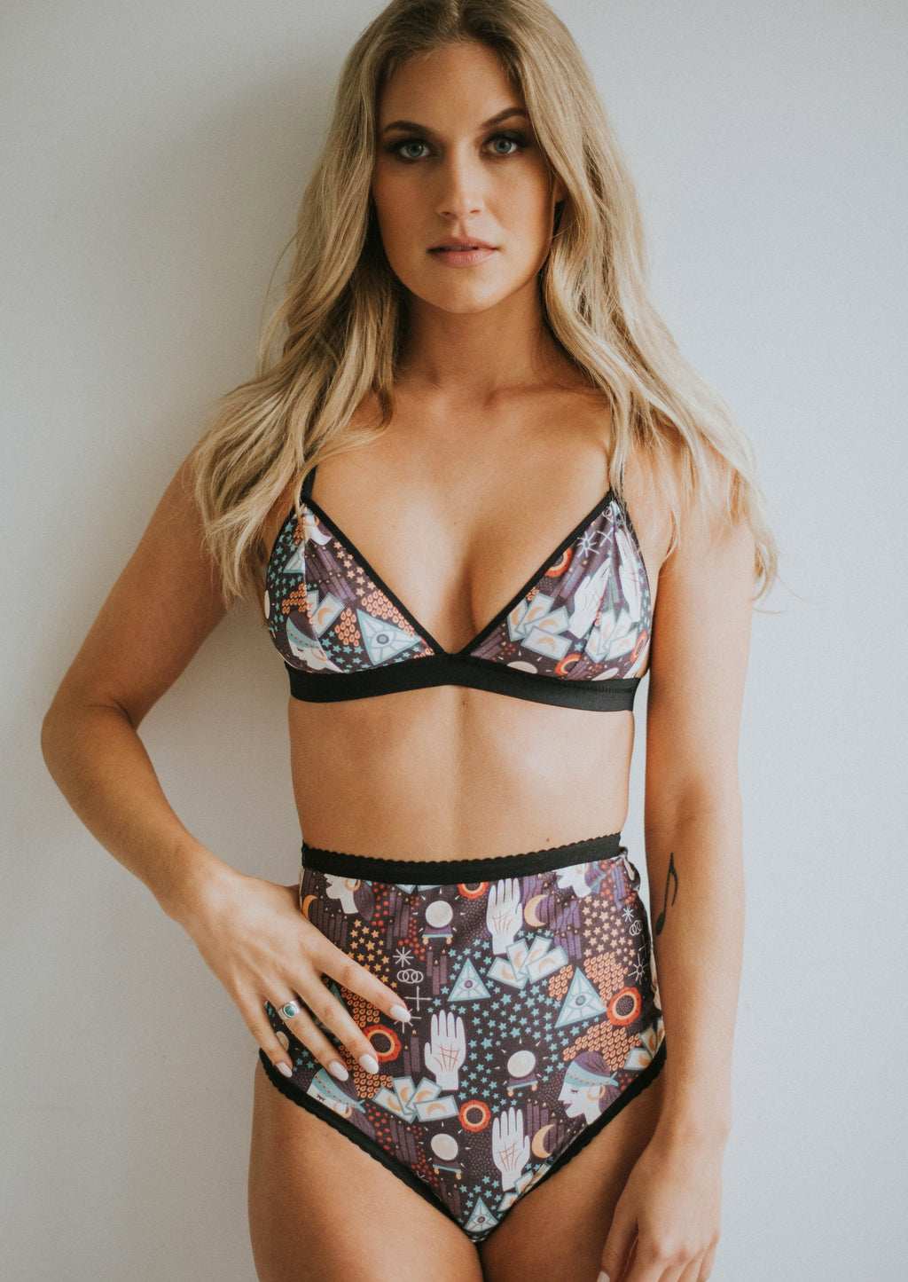 Tarot Bralette | Fortuner teller print cotton bralette by Coven Intimates