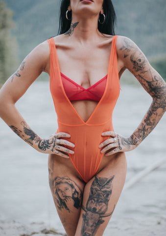 Wrestle Me Bodysuit by Only Hearts in Sunkist Orange