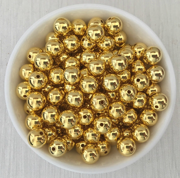 Acrylic Bead CCB Bright Gold 10mm 75 Pieces