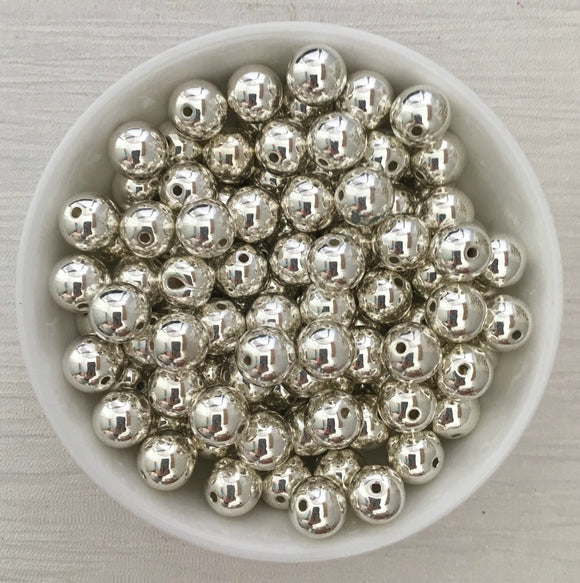 Acrylic Bead CCB Bright Silver 10mm 75 Pieces