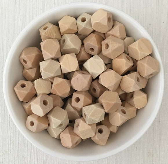 10mm Geometric Wood Natural Bead