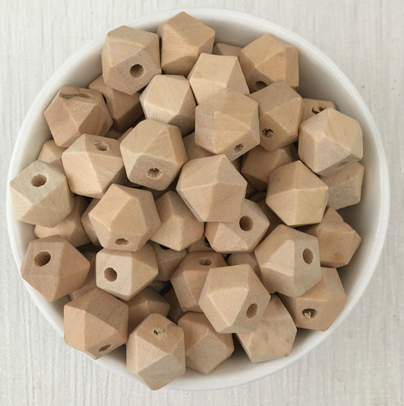 12mm Geometric Wood Natural Bead