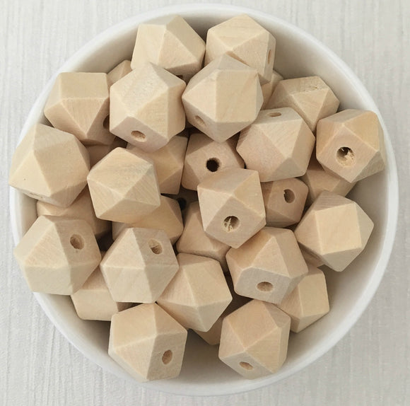 14mm Geometric Wood Natural Bead
