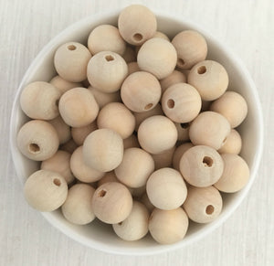 14mm Round Wood Natural Bead