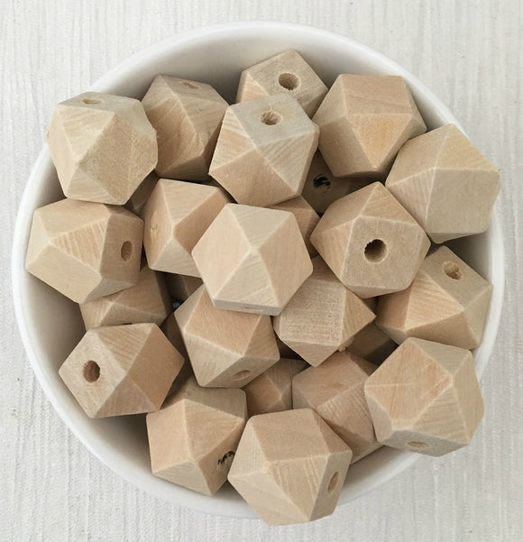16mm Geometric Wood Natural Bead