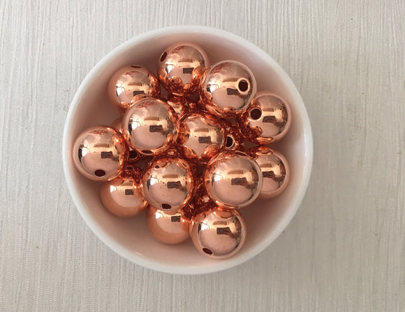 Acrylic Bead CCB Rose Gold Round Various Sizes