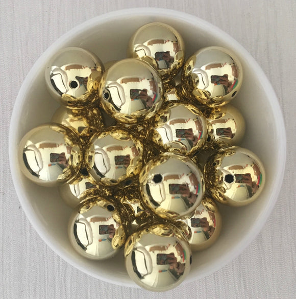 Acrylic Bead 20mm Solid Colour Round Light Gold