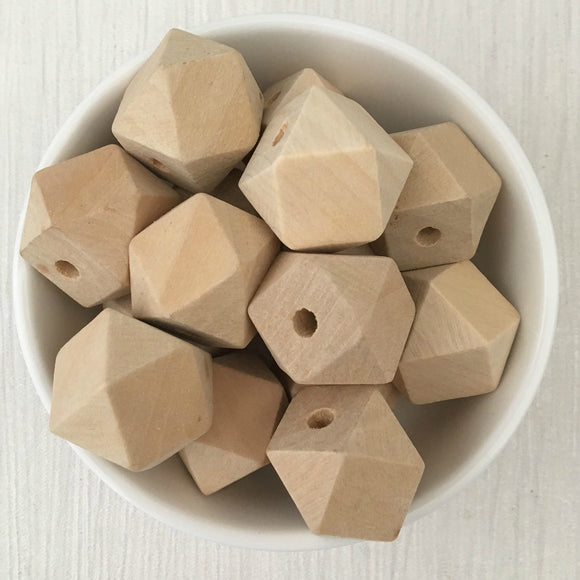 20mm Geometric Wood Natural Bead