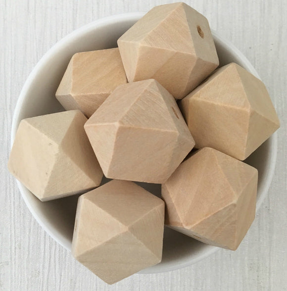 25mm Geometric Wood Natural Bead