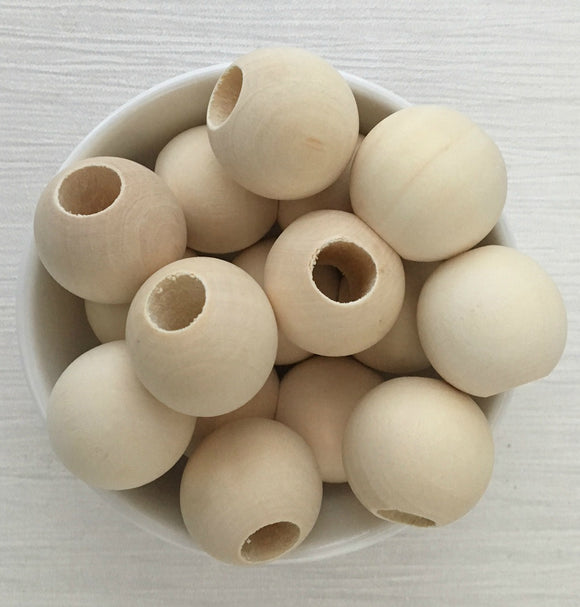 Large Hole 25mm Round Wood Natural Bead