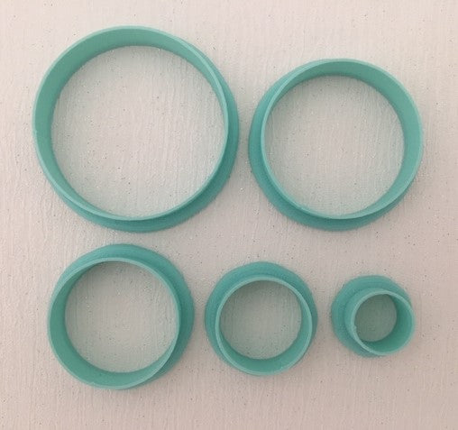 3D Printed Polymer Clay Cutter - Circle 5 Piece Set