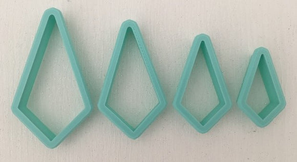 3D Printed Polymer Clay Cutter - Kite 4 Piece Set