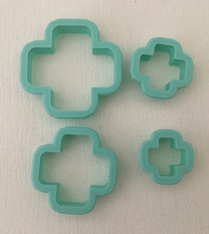 3D Printed Polymer Clay Cutter - Rounded Cross 4 Piece Set