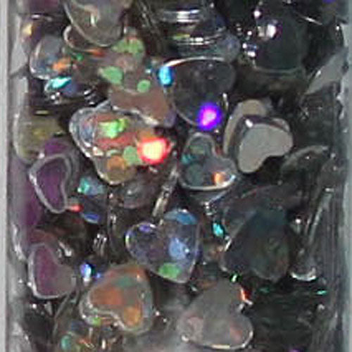 Glitter Tube 15G Hearts Holographic Silver 88674